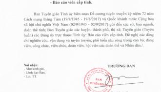 Công văn 651 – CV/BTG Về việc tuyên truyền 72 năm Cách mạng tháng Tám và Quốc khánh nước Cộng hòa xã hội chủ nghĩa Việt Nam – Phần 1